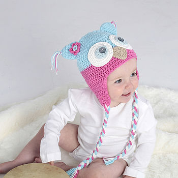 Pink And Turquoise Owl Hat