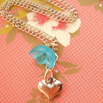 Silver Heart And Blue Flower Necklace