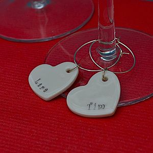 Personalised Heart Glass Charms - table decorations