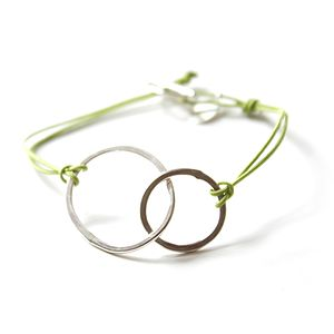 Silver And Cord Double Loop Bracelet - bracelets & bangles