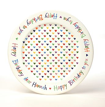 Personalised Love Heart Happy Birthday Plate