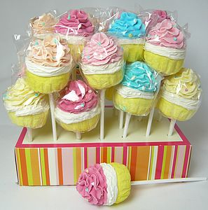 Marshmallow And Candy Cupcake Lollies - wedding favours