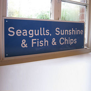 'Seagulls Sunshine & Fish & Chips' Sign - outdoor decorations