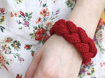 Chunky Braided Bangle Hand Knitted Bamboo