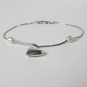 Silver Bracelet With Heart And Two Pearls - bracelets & bangles