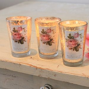 Mercury Glass Votive With Rose Print Design - tableware