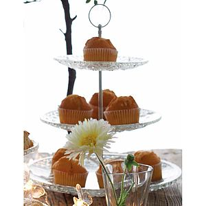 Three Tier Victorian Style Glass Cake Stand - shop by price