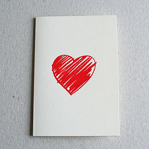 Crayon Heart Screen Printed Card - anniversary cards