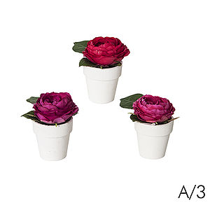 Set Of Three Mini Artificial Rose Pots - room decorations
