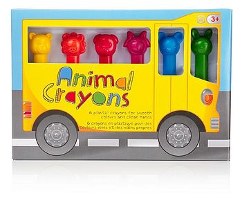 Pack Of Six Animal Crayons