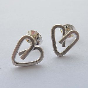 Silver Heart Wire Earrings - earrings