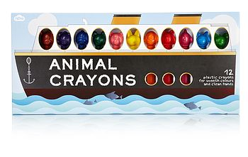 Pack Of 12 Big Animal Crayons
