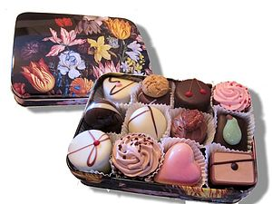 Floral Tin Filled With Chocolates - chocolates