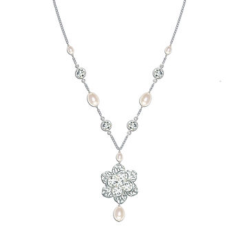 Viola Pearl And Crystal Necklace