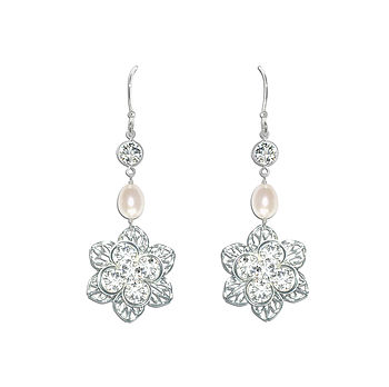 Viola Vintage Style Pearl Earrings