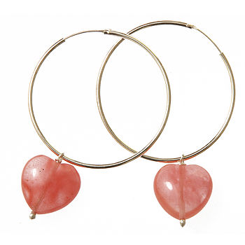 Cherry Quartz Heart Hoop Earrings