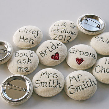 Embroidered Word Brooches