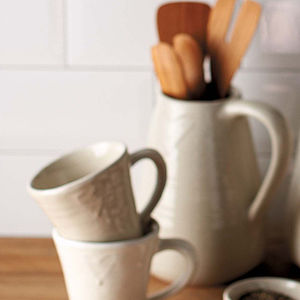 Large Cream Heart Stoneware Jug - vases
