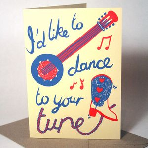 'Dance To Your Tune' Hand Printed Card - new lines added