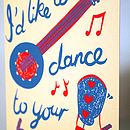 'Dance To Your Tune' Hand Printed Card