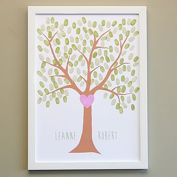 Love Heart Fingerprint Tree Poster