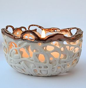 Copper And Porcelain Tea Light Holder - wedding table styling