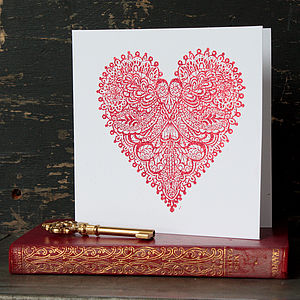 Celebration Lace Heart Greetings Card - wedding cards & wrap