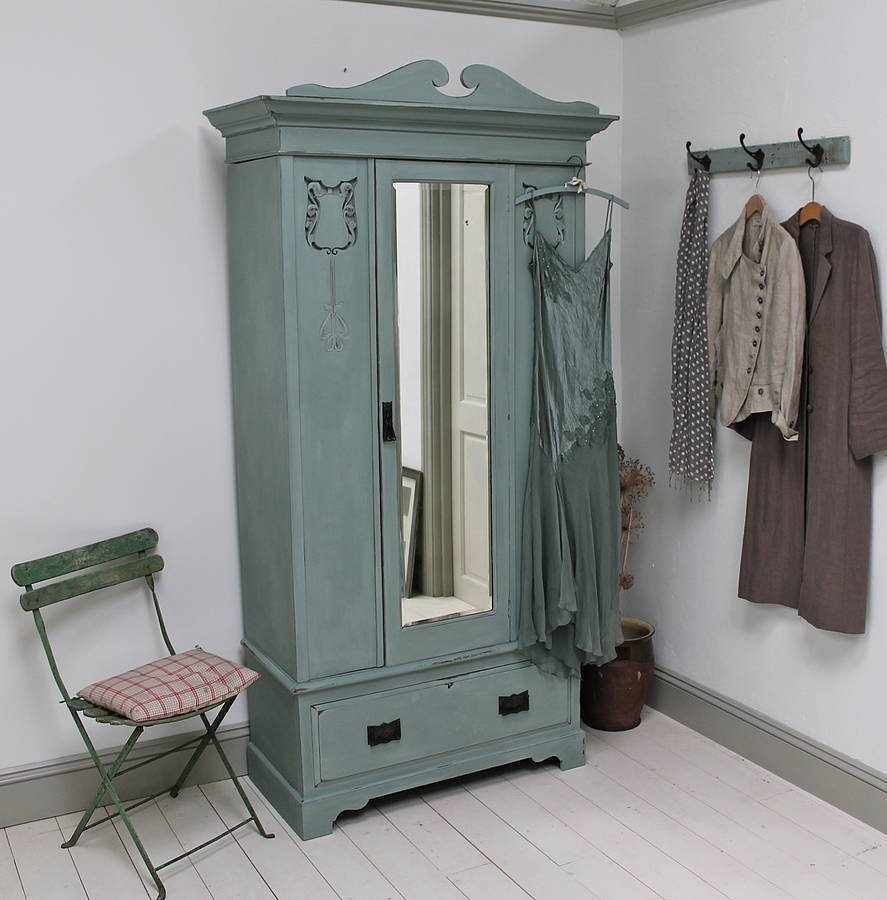 Vintage Carved Painted Wardrobe By Distressed But Not