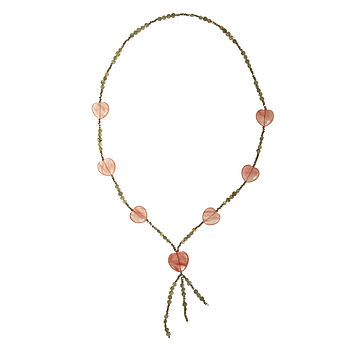Cherry Quartz Heart And Labradorite Necklace