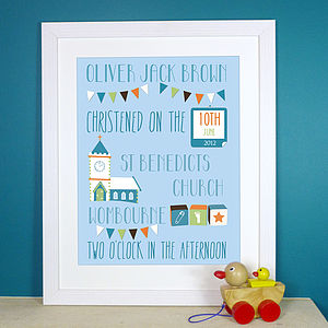 Personalised Christening Print - children's pictures & paintings