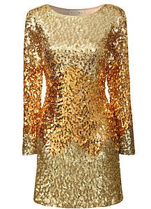 Gold Tonal Ombre Sequin Dress - dresses & skirts