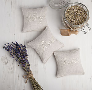 Sleep Rest Relax Linen Lavender Bags. Set Of Three