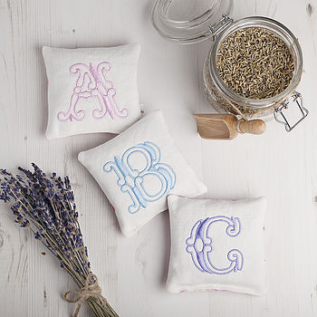 Monogrammed Embroidered Lavender Pillows