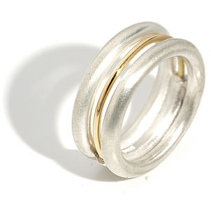 Silver And Gold Triple Band Round Ring - rings
