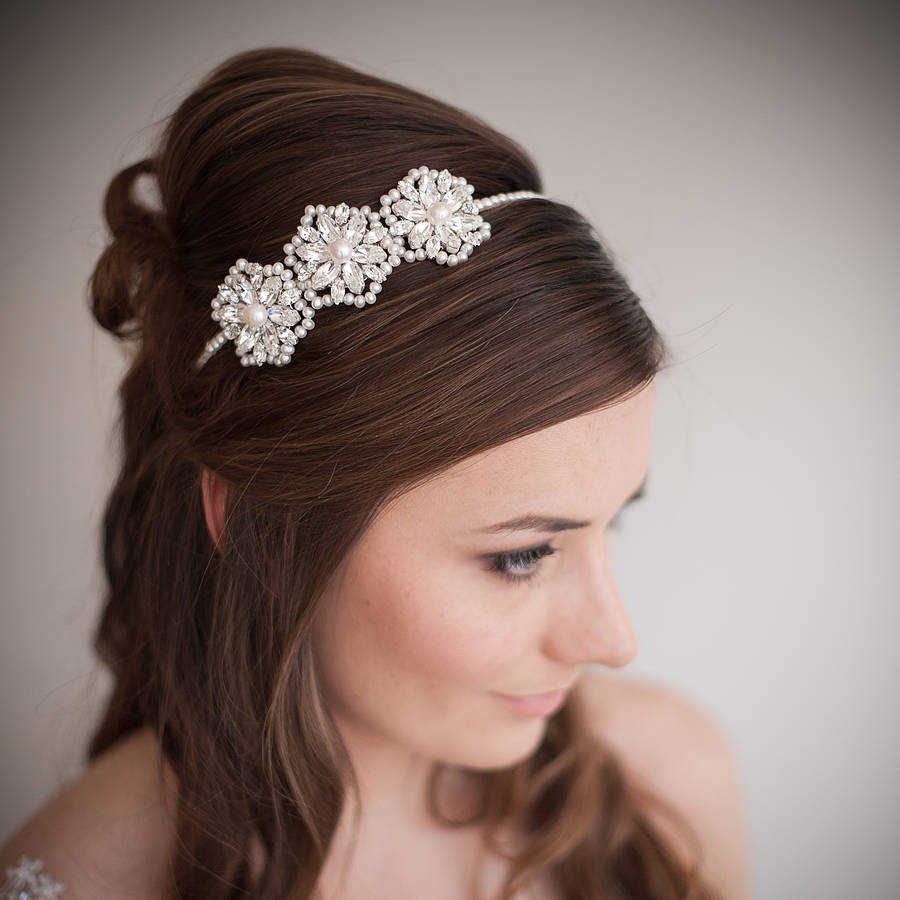 Cecily Pearl And Crystal Wedding Headband By Chez Bec