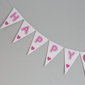 Happy Birthday Bunting Medium - outdoor decorations