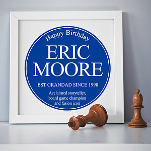 Personalised Framed Plaque Print - gifts for men