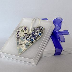Liberty Print Lavender Heart Hanger - wedding favours