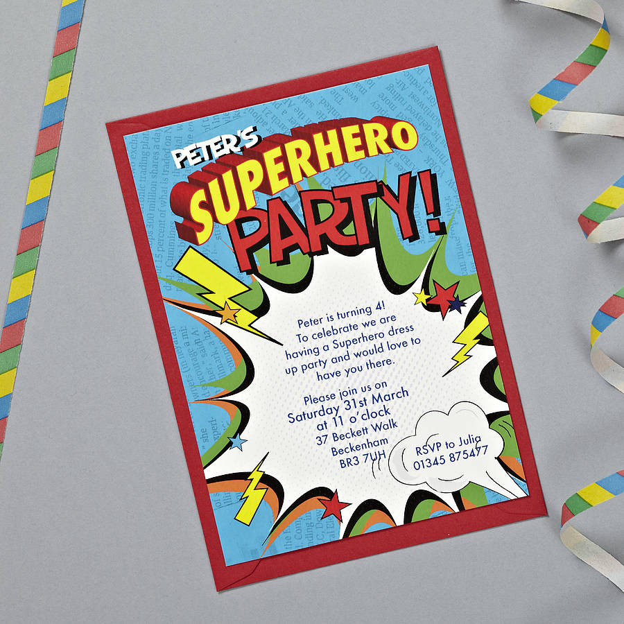 personalised superhero party invitations by bonnie blackbird ...