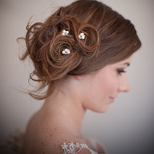 Set Of Pearl Blossom Wedding Hair Pins - wedding fashion