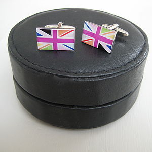 Round Leather Travel Cufflink Case