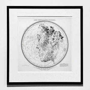 'The Starry Heavens' Map Print II - monochrome