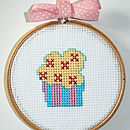 """Mini Yellow Frosted Cup Cake in 4"""" hoop"""