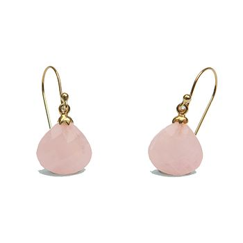 Rose Quartz Gold Drop Earrings