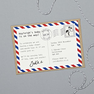 'Special Delivery' Baby Shower Invitations - christening invitations