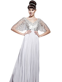 Lace Top Chiffon A Line Wedding Dress