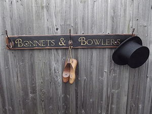 Vintage Style Bonnets And Bowlers Hook Board - hooks, pegs & clips