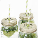 Set Of Six Daisy Glass Jar Lids