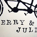 Personalised Tandem Bike Handmade Print