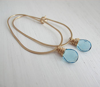 Blue Quartz Egg Hoop Earrings